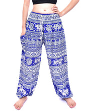 Load image into Gallery viewer, Bohotusk Blue Elephant Calf Print Womens Harem Trousers Tie Waist
