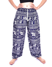 Load image into Gallery viewer, Bohotusk Girls Blue Elephant Print Drawstring Waist Harem Pants (6 - 8 Years)