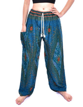 Load image into Gallery viewer, Bohotusk Teal Moonshine Print Mens Unisex Harem Trousers Tie Waist
