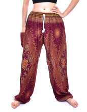 Load image into Gallery viewer, Bohotusk Maroon Moonshine Print Womens Harem Pants Tie Waist