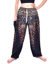 Load image into Gallery viewer, Bohotusk Black & Gold Peacock Print Womens Harem Pants Tie Waist