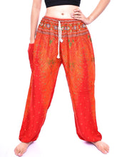 Load image into Gallery viewer, Bohotusk Orange Peacock Print Womens Harem Trousers Tie Waist