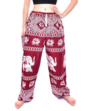 Load image into Gallery viewer, Bohotusk Red Elephant Bull Print Womens Harem Pants Tie Waist