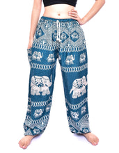 Load image into Gallery viewer, Bohotusk Turquoise Elephant Bull Print Womens Harem Pants Tie Waist