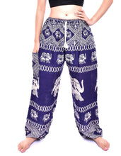 Load image into Gallery viewer, Bohotusk Navy Blue Elephant Bull Print Womens Harem Pants Tie Waist