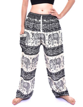 Load image into Gallery viewer, Bohotusk Black Elephant Herd Print Womens Harem Pants Tie Waist