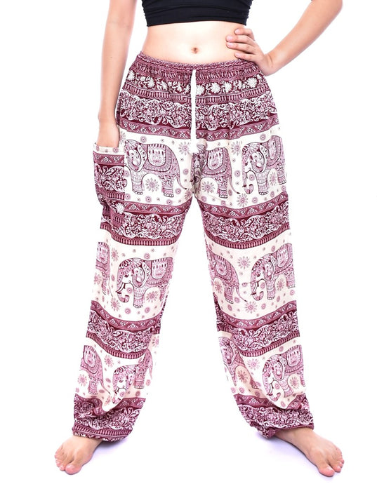 Bohotusk Red Elephant Herd Print Womens Harem Pants Tie Waist