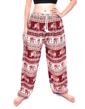 Load image into Gallery viewer, Bohotusk Red Elephant Savannah Print Mens Unisex Harem Trousers Tie Waist