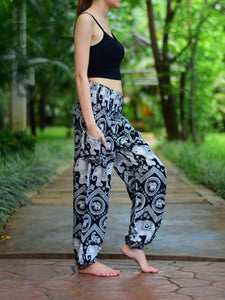 Bohotusk Black Elephant Paradise Print Elasticated Smocked Waist Womens Harem Pants S/M to LXL