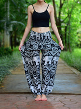 Load image into Gallery viewer, Bohotusk Black Elephant Paradise Print Elasticated Smocked Waist Womens Harem Pants