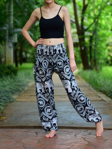 Bohotusk Black Elephant Paradise Print Elasticated Smocked Waist Womens Harem Pants