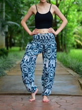 Load image into Gallery viewer, Bohotusk Turquoise Elephant Paradise Print Elasticated Smocked Waist Womens Harem Pants S/M