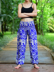 Bohotusk Blue Elephant Paradise Print Elasticated Smocked Waist Womens Harem Pants