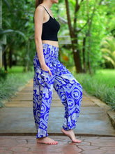 Load image into Gallery viewer, Bohotusk Blue Elephant Paradise Print Elasticated Smocked Waist Womens Harem Pants S/M
