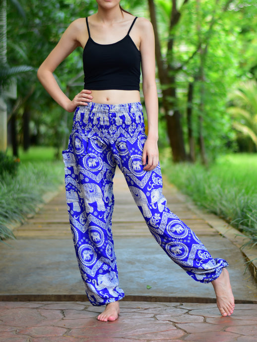 Bohotusk Blue Elephant Paradise Print Elasticated Smocked Waist Womens Harem Pants S/M to LXL