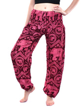 Load image into Gallery viewer, Bohotusk Red Pink Elephant Tusker Elasticated Smocked Waist Womens Harem Pants S/M to L/XL