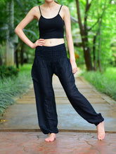 Load image into Gallery viewer, Bohotusk Black Plain Elasticated Smocked Waist Womens Harem Pants