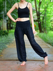 Bohotusk Black Plain Elasticated Smocked Waist Womens Harem Pants