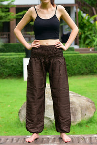 Bohotusk Brown Plain Elasticated Smocked Waist Womens Harem Pants