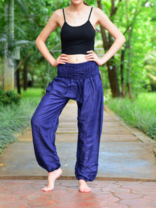 Bohotusk Navy Blue Plain Elasticated Smocked Waist Womens Harem Pants S/M to 3XL