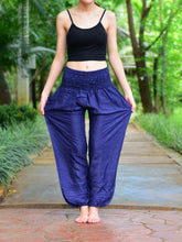 Load image into Gallery viewer, Bohotusk Navy Blue Plain Elasticated Smocked Waist Womens Harem Pants S/M to 3XL