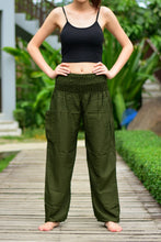 Load image into Gallery viewer, Bohotusk Olive Green Plain Elasticated Smocked Waist Womens Harem Pants S/M to 3XL
