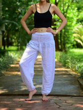 Load image into Gallery viewer, Bohotusk White Plain Elasticated Smocked Waist Womens Harem Pants S/M to L/XL