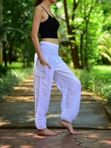 Bohotusk White Plain Elasticated Smocked Waist Womens Harem Pants S/M to L/XL