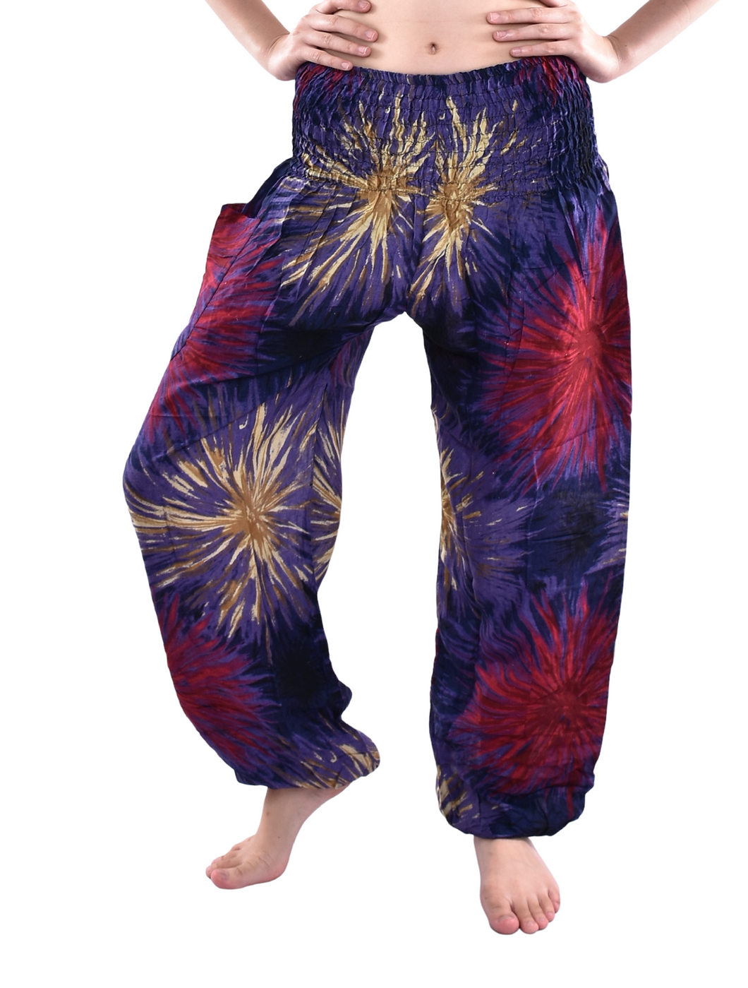 Bohotusk Navy Blue Firework Print Elasticated Smocked Waist Womens Harem Pants
