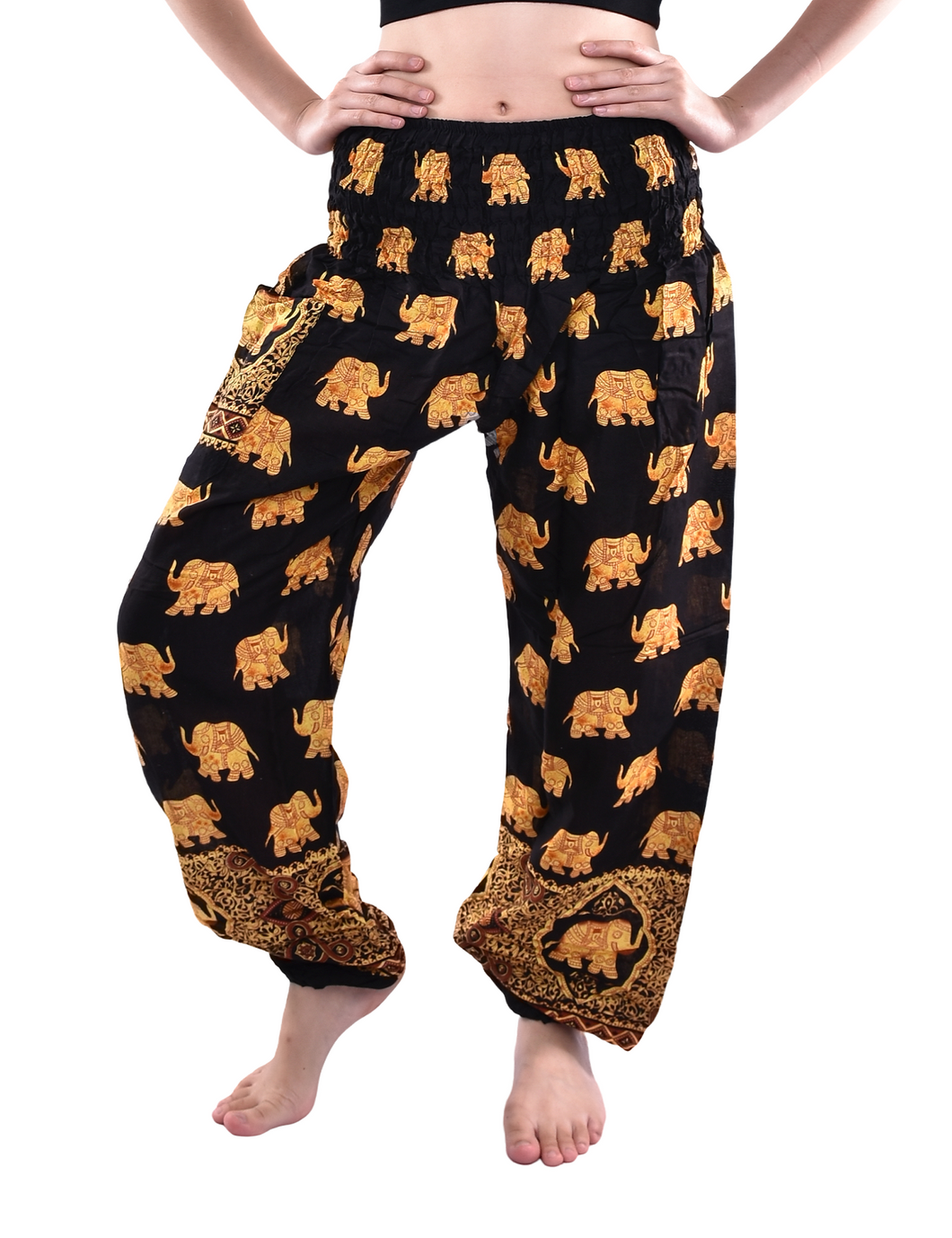 Bohotusk Royal Black Elephant Print Elasticated Smocked Waist Womens Harem Pants