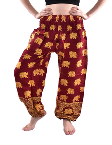 Bohotusk Royal Maroon Elephant Print Elasticated Smocked Waist Womens Harem Pants