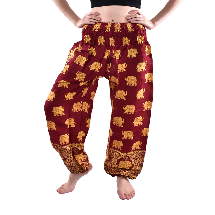Bohotusk Kids Maroon Royal Elephant Elasticated Smocked Waist Harem Pants (9 - 12 Years)