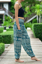 Load image into Gallery viewer, Bohotusk Turquoise Elephant Calf Print Elasticated Smocked Waist Womens Harem Pants