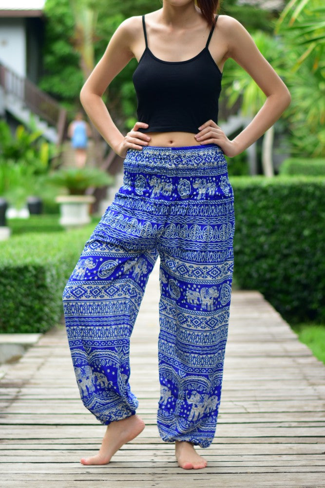 Bohotusk Blue Elephant Calf Print Elasticated Smocked Waist Womens Maternity Harem Trousers