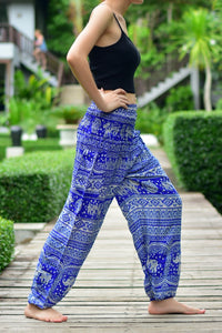 Bohotusk Blue Elephant Calf Print Elasticated Smocked Waist Womens Harem Trousers Alternative Maternity Trouser