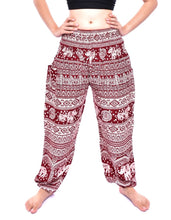 Load image into Gallery viewer, Bohotusk Red Elephant Calf Print Elasticated Smocked Waist Womens Harem Trousers S/M
