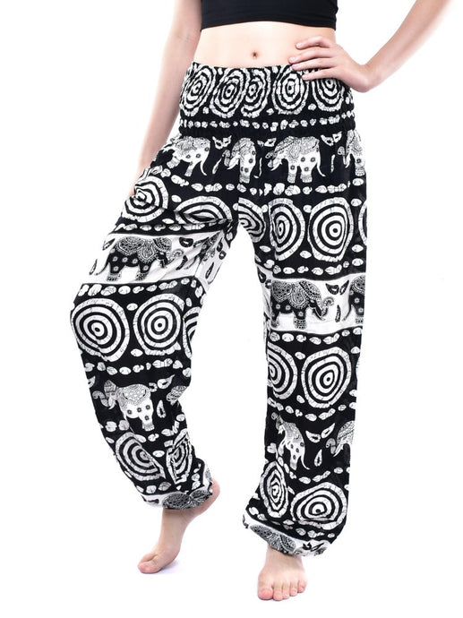 Bohotusk Black Elephant Bullseye Print Elasticated Smocked Waist Womens Harem Pants S/M to L/XL