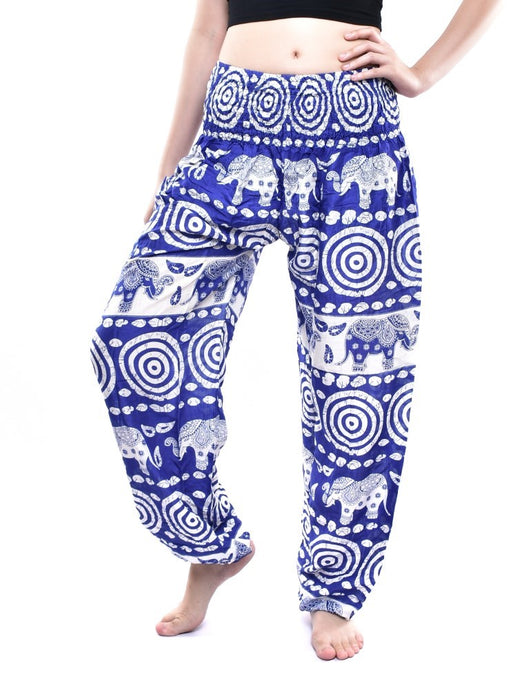 Bohotusk Mid Blue Elephant Bullseye Print Elasticated Smocked Waist Womens Harem Pants S/M to L/XL