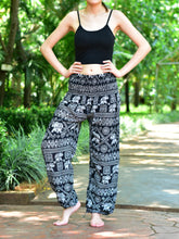 Load image into Gallery viewer, Bohotusk Black Elephant Print Womens Harem Pants Elasticated Smocked Waist S/M to 3XL