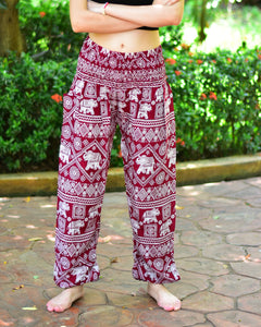 Bohotusk Red Elephant Print Elasticated Waist Harem Pants (6 - 8 Years)