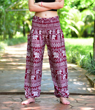 Load image into Gallery viewer, Bohotusk Red Elephant Print Harem Pants Elasticated Smocked Waist S/M to 3XL