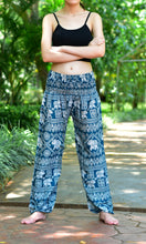 Load image into Gallery viewer, Bohotusk Turquoise Elephant Plain Print Elasticated Smocked Waist Womens Harem Pants S/M