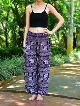 Load image into Gallery viewer, Bohotusk Purple Elephant Print Elasticated Smocked Waist Womens Harem Pants S/M to 3XL