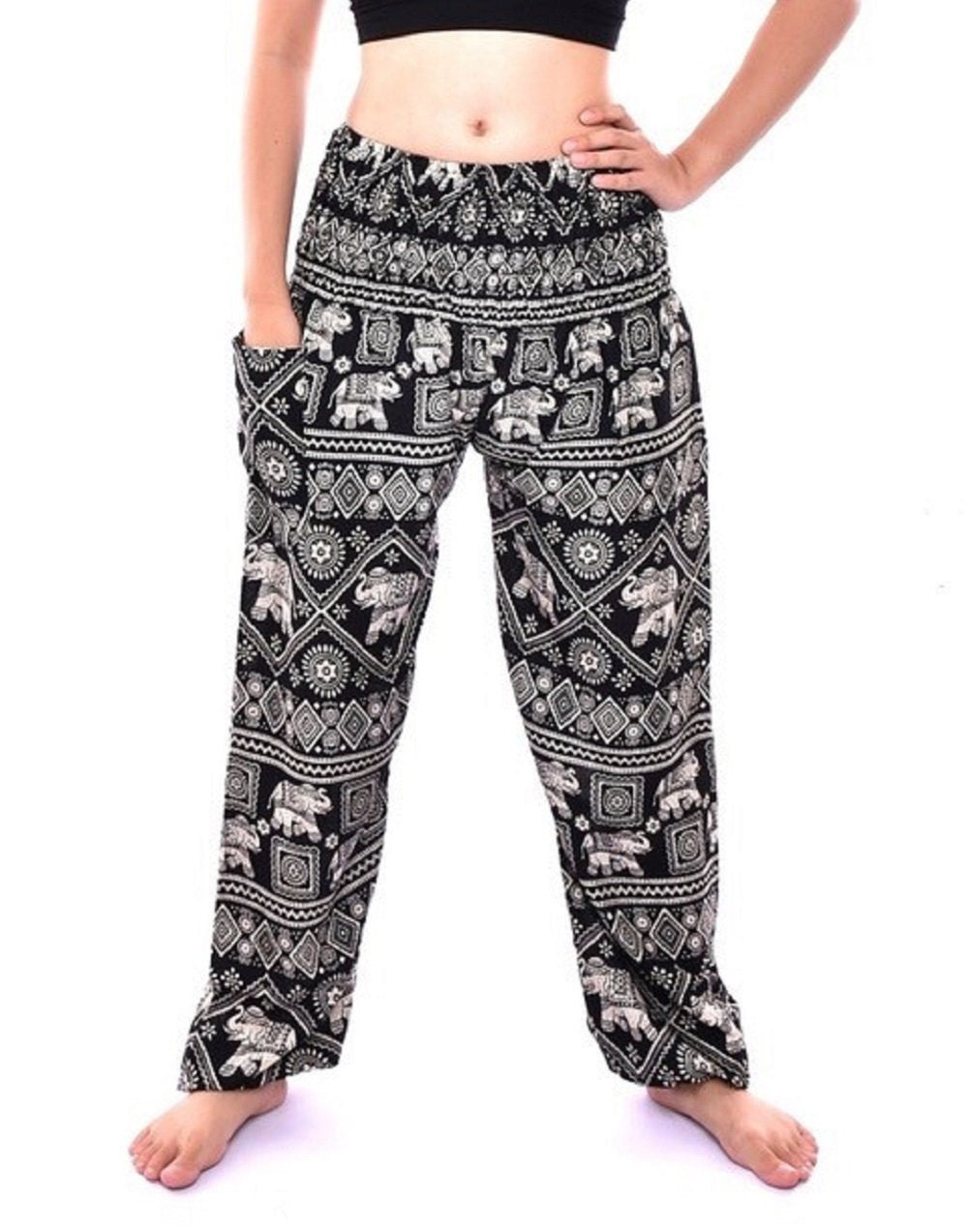 Bohotusk Black Elephant Print Womens Harem Pants One Size Elasticated Smocked Waist
