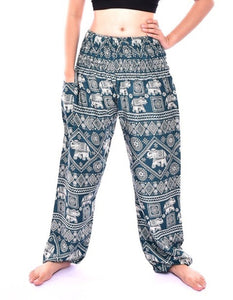 Bohotusk Turquoise Elephant Print Harem Pants Elasticated Smocked Waist S/M to 3XL