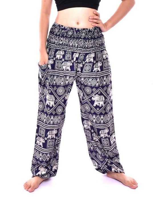 Bohotusk Navy Blue Elephant Print One Size Elasticated Smocked Waist Womens Harem Pants