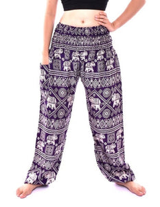 Bohotusk Purple Elephant Print One Size Elasticated Smocked Waist Womens Harem Pants