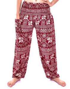 Bohotusk Kids Red Elephant Print Elasticated Smocked Waist Harem Pants (9 - 12 Years)