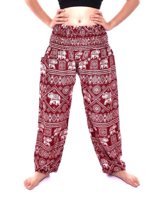Bohotusk Red Elephant Print Harem Pants One Size Elasticated Smocked Waist