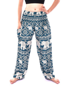Bohotusk Turquoise Elephant Plain Print Elasticated Smocked Waist Womens Harem Pants S/M
